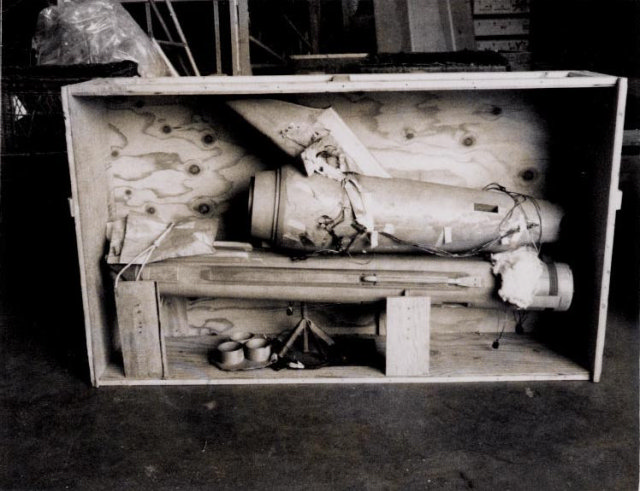 Another NASM photo, this shows the Enterprise in segments in a wooden crate.