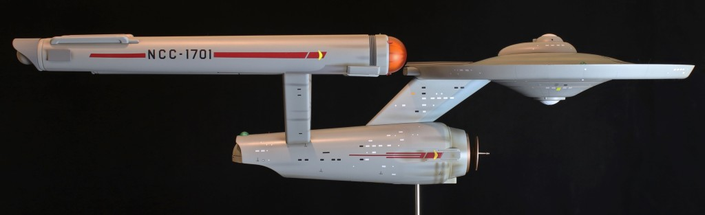 The Star Trek Enterprise model from Polar Lights, looking gorgeous in profile.