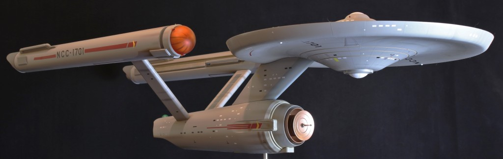 The Star Trek Enterprise model from Polar Lights, looking gorgeous in a three-quarter shot.