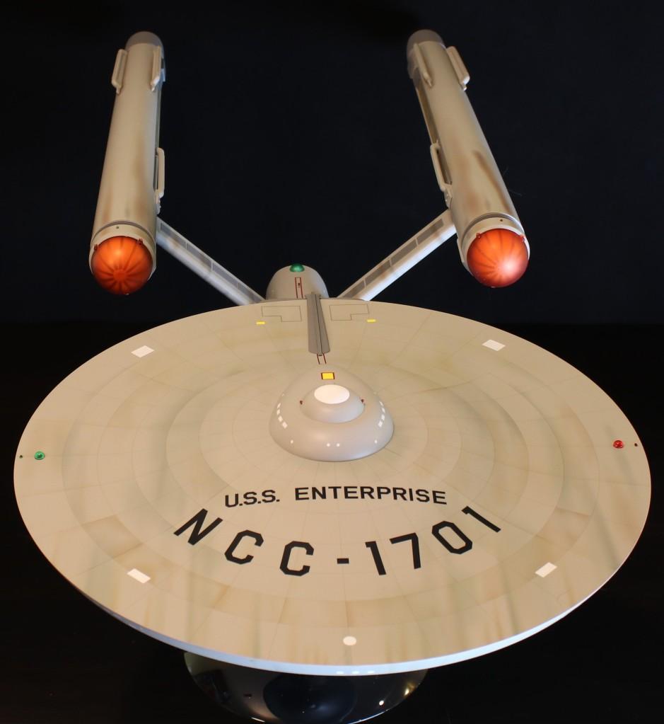 The Star Trek Enterprise model from Polar Lights, looking gorgeous from slightly above.