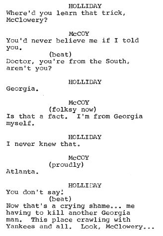 A page from the script for the Star Trek episode The Last Gunfight.
