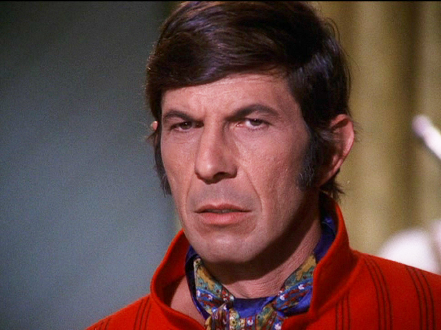 A close-up of Nimoy as Paris in Mission: Impossible. He looks very 70s.